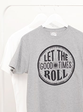 Let The Good Times Roll | Men's Printed Slogan T Shirt | Alphabet Bags