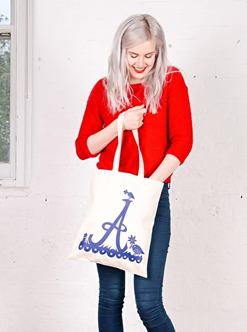 Rob Ryan Initial Tote Bag | Cotton Tote Bag | Alphabet Bags