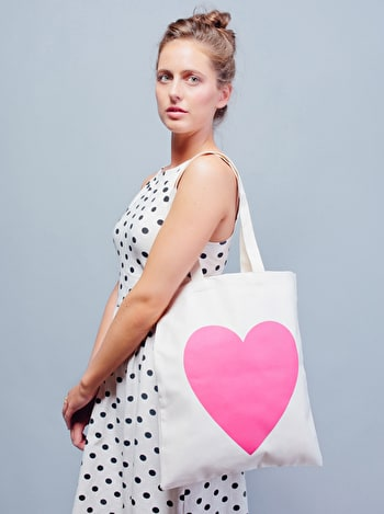 Pink Heart Tote Bag | Heart Cotton Shopper | Alphabet Bags