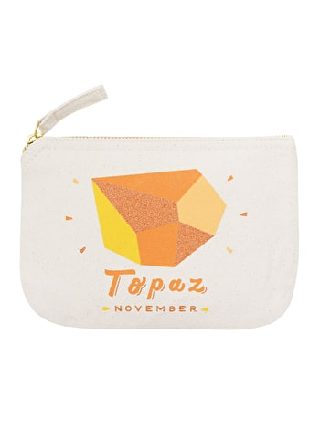 Topaz Birthstone Canvas Pouch | Birthday Gift For Her | Alphabet Bags