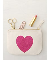 Glitter Heart - Little Canvas Pouch