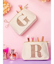 Initial Makeup Bag - Rose Gold Glitter