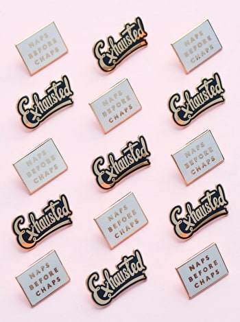 Exhausted Enamel Pin | New Mum Gift | Alphabet Bags
