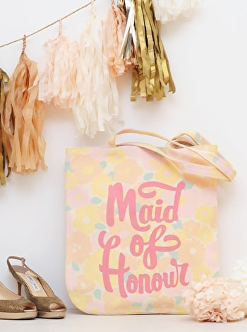 Photo of Maid of Honour - Floral Canvas Wedding Bag