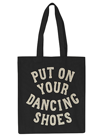Put On Your Dancing Shoes Tote Bag | Black Glitter Tote | Alphabet Bags