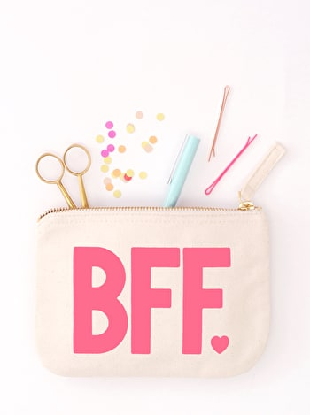 BFF Canvas Zip Pouch | Gifts for Friends | Alphabet Bags