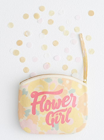 Photo of Flower Girl - Floral Canvas Wedding Pouch