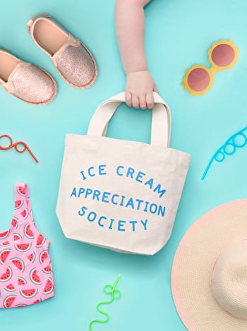 Ice Cream Appreciation Tote Bag | Kid's Beach Tote | Alphabet Bags