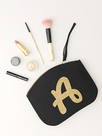 Photo of Initial Canvas Pouch - Black