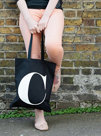 Photo of Initial Cotton Tote Bag - Black