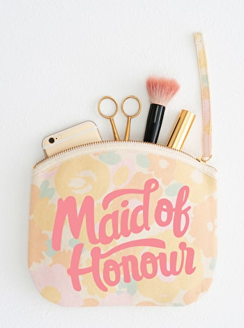 Photo of Maid of Honour - Floral Canvas Wedding Pouch