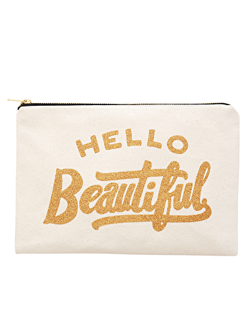 Hello Beautiful | Canvas Zip Pouch | Alphabet Bags