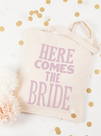 Here Comes the Bride Tote Bag | Tote Bags for Brides | Alphabet Bags