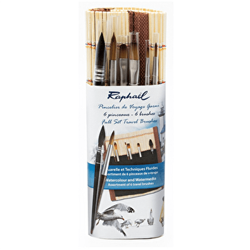 Raphael Bamboo Brush Roll Set of 6