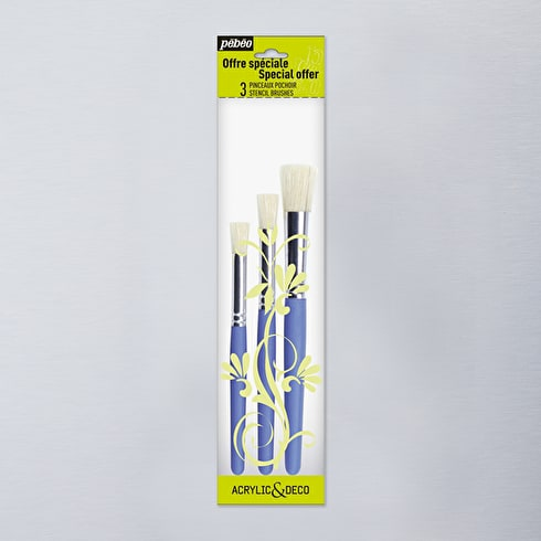 Pebeo Short Handled Stencil Brushes Wallet Set of 3