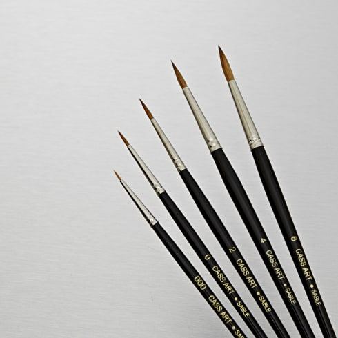 Cass Art Short Handled Sable CS40 Sable Round Brush | Professional Brushes