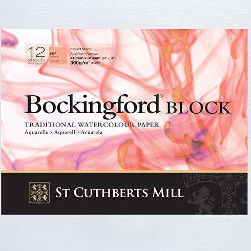Bockingford Watercolour Paper Block Hot Pressed 300gsm 12 Sheets