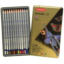 Derwent Metallic Pencil Tin Set of 12 Assorted Colours