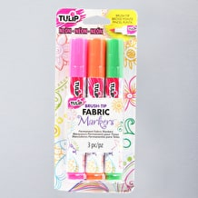 Tulip Fabric Markers Brush Tip Neon Assorted Colours Pack of 3