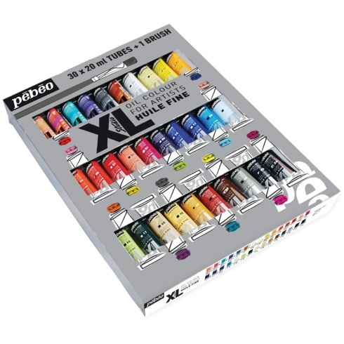 Pebeo XL Oil 20ml Assorted Colours Pack of 30 + Free Brush