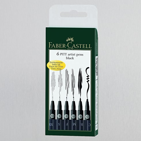 Faber-Castell Pitt Artists' Pen Wallet Assorted Tips Set of 6