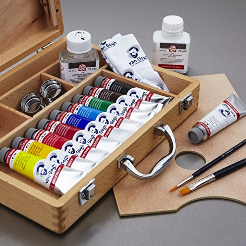 Van Gogh Acrylics Basics Box Assorted Colours Set of 10 + Accessories