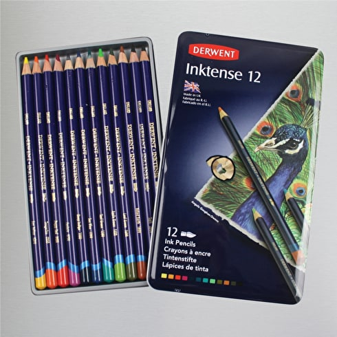 Derwent Inktense Pencil Tin Set of 12 Assorted Colours