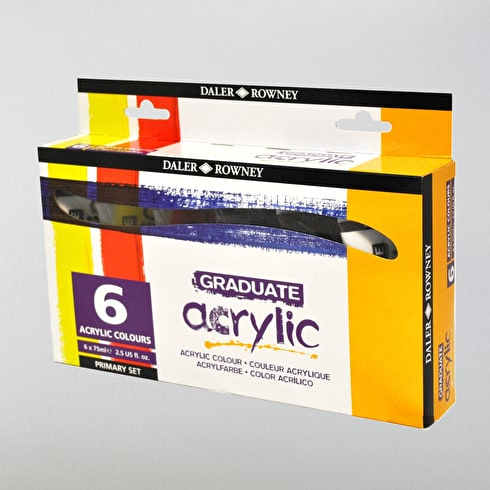 Daler Rowney Graduate Acrylic Primary 75ml Assorted Colours Set of 6