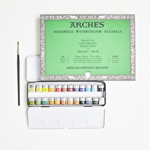 Artists' Watercolour Set with Paint, Paper & Brush