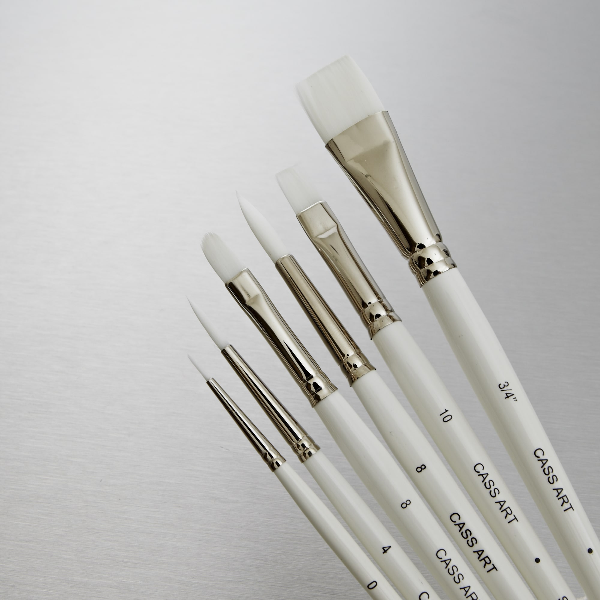 Cass art white synthetic brushes set of 6 professional for Best paint brush brands
