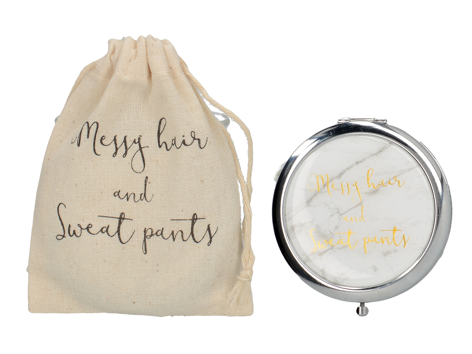 Creative Tops Ava & I 15 Compact Mirrors And Drawstring Bags - Messy Hair And Sweatpants In Cdu
