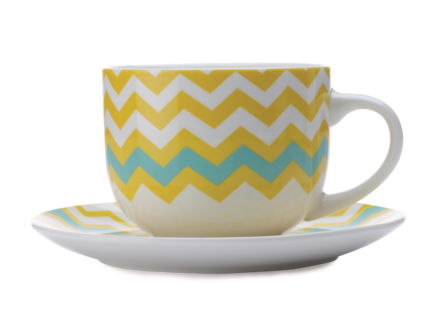 Maxwell & Williams Colour Bolt 475Ml Breakfast Cup And Saucer Yellow