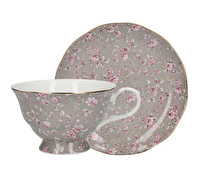 Katie Alice Ditsy Floral Tea Cup And Saucer Grey Floral