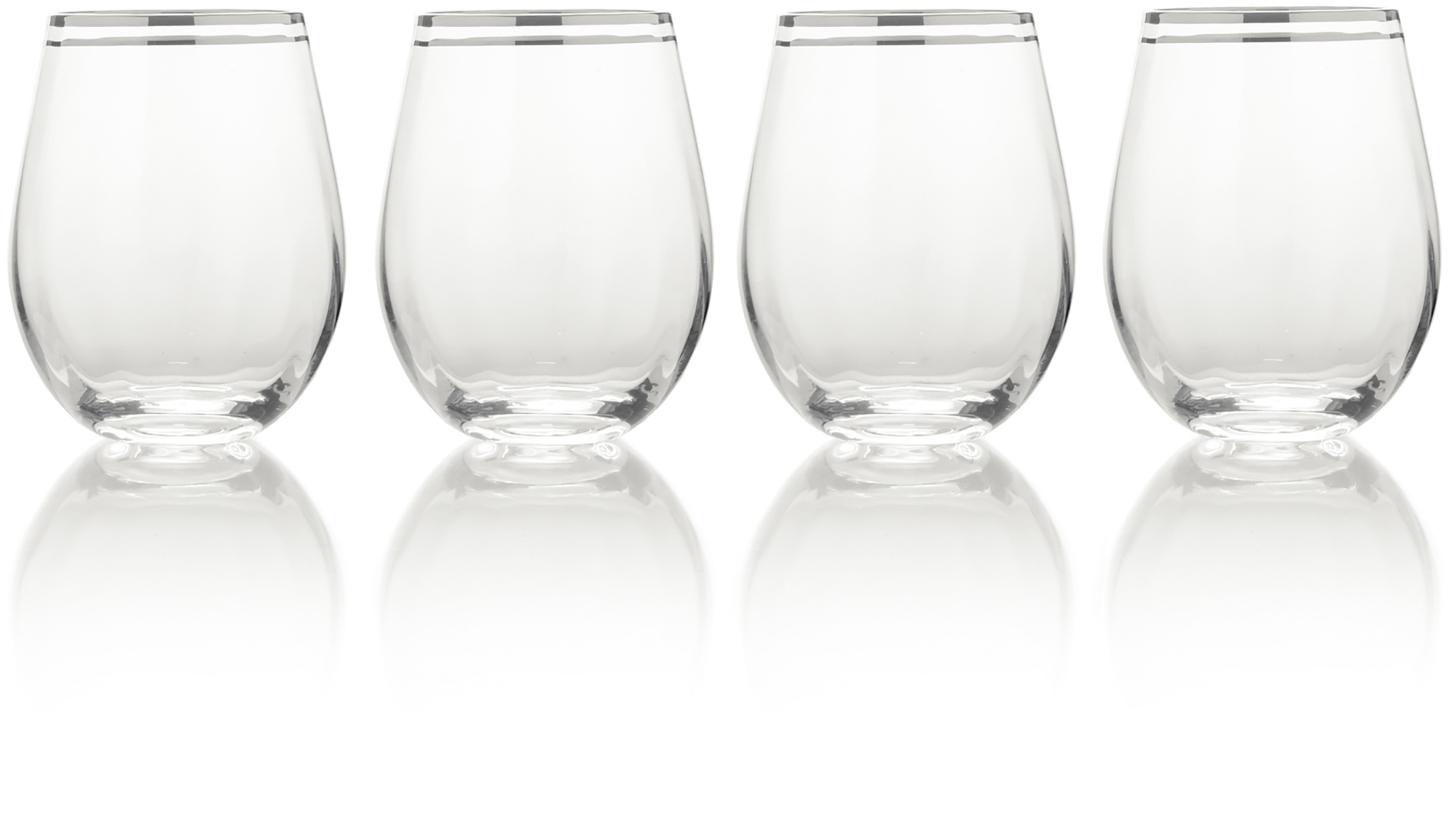 Mikasa Haley Set Of 4 Platinum 22Oz Stemless Wine Glasses