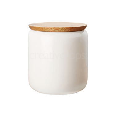 Maxwell & Williams White Basics 900Ml Canistr With Bamboo Lid Gift Boxed