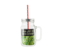 Creative Tops Glass Jam Jar With Lid and Straw