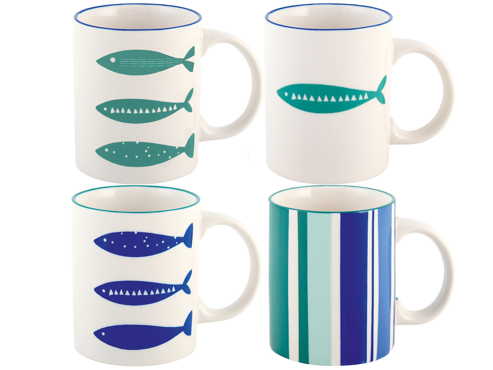 M By Mikasa Into The Blue Set Of 4 Can Mugs
