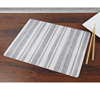 Everyday Home Grey Textured Stripe Pack Of 2 Large Placemats