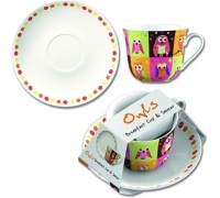 Creative Tops Patchwork Owl Breakfast Cup And Saucer
