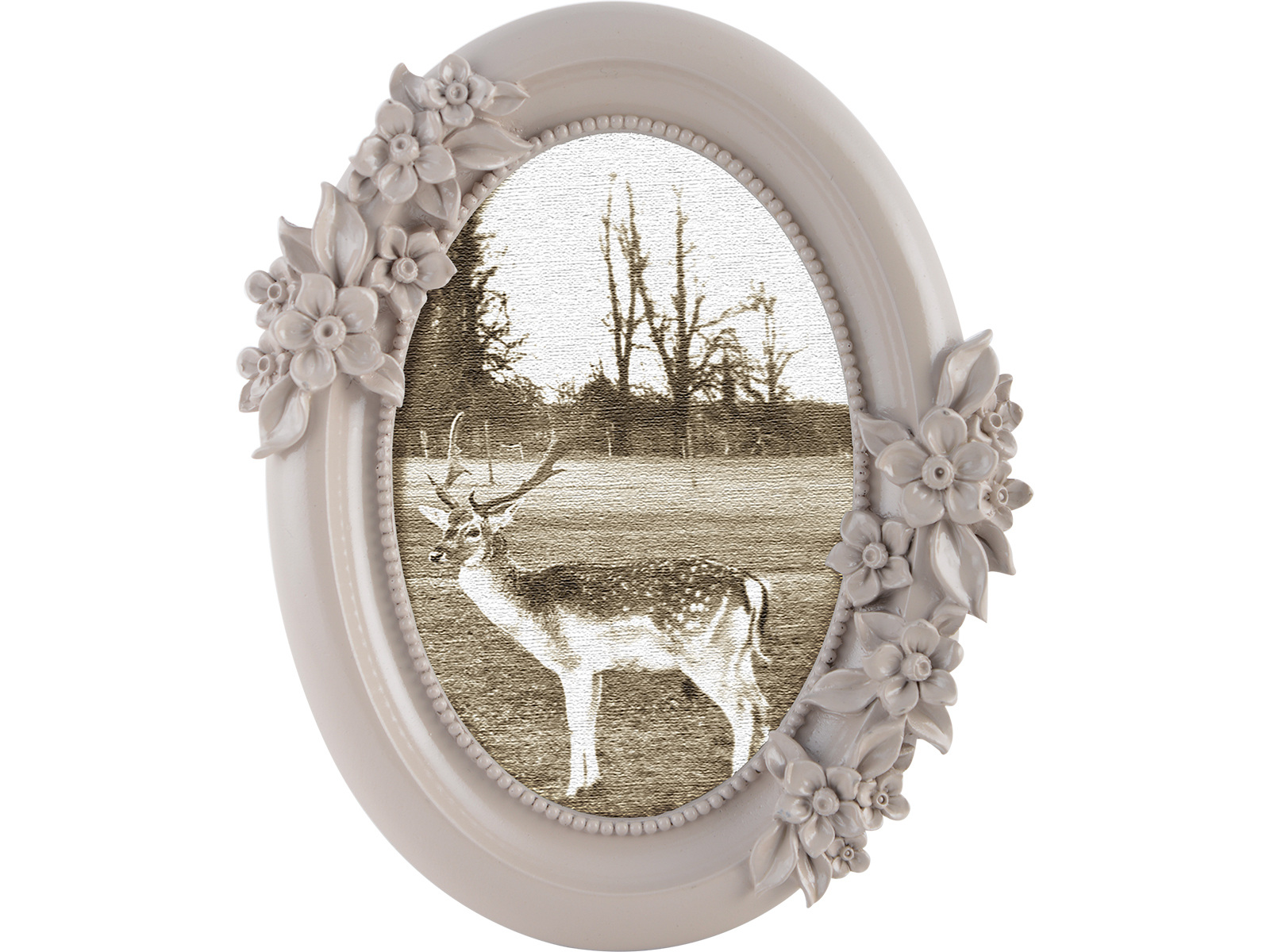 Katie Alice Photo Frame Grey Oval Floral