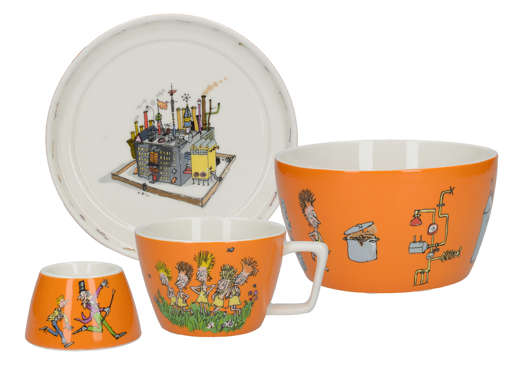 Roald Dahl Charlie And The Chocolate Factory Set 4Pc Stacking Breakfast Set