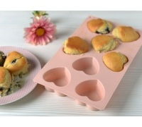 Katie Alice Cottage Flower 8 Cup Silicone Heart Mould Pink