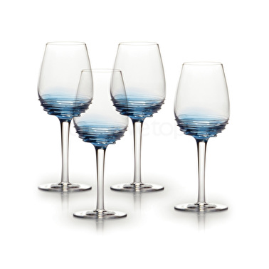 Mikasa Swirl Set Of 4 10.5Oz White Wine Glasses Cobalt