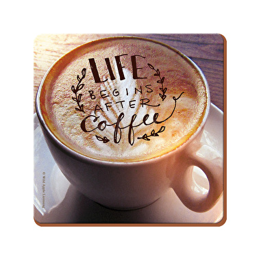 Creative Tops Life Begins After Coffee Pack Of 4 Square Premium Coasters
