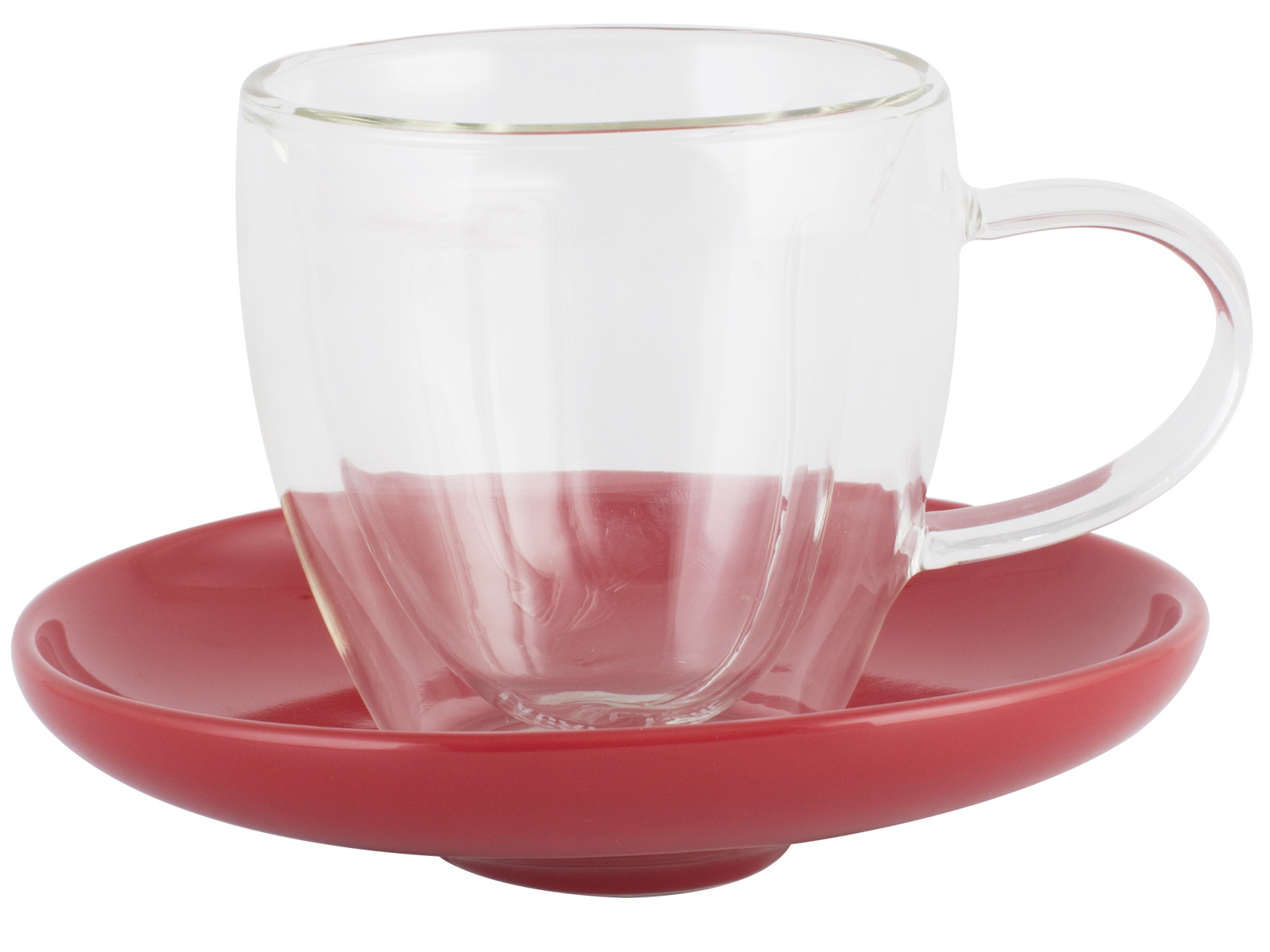 La Cafetiere Double Wall 300ml Heart Glass And Saucer