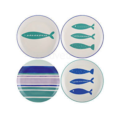 M By Mikasa Into The Blue Set Of 4 Side Plates