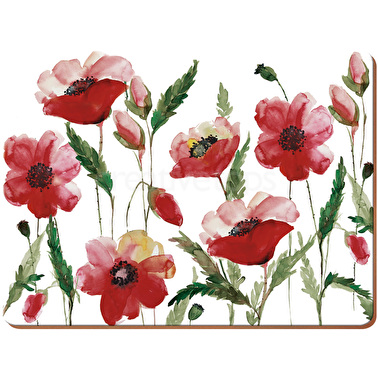 Creative Tops Watercolour Poppy Pack Of 6 Premium Placemats
