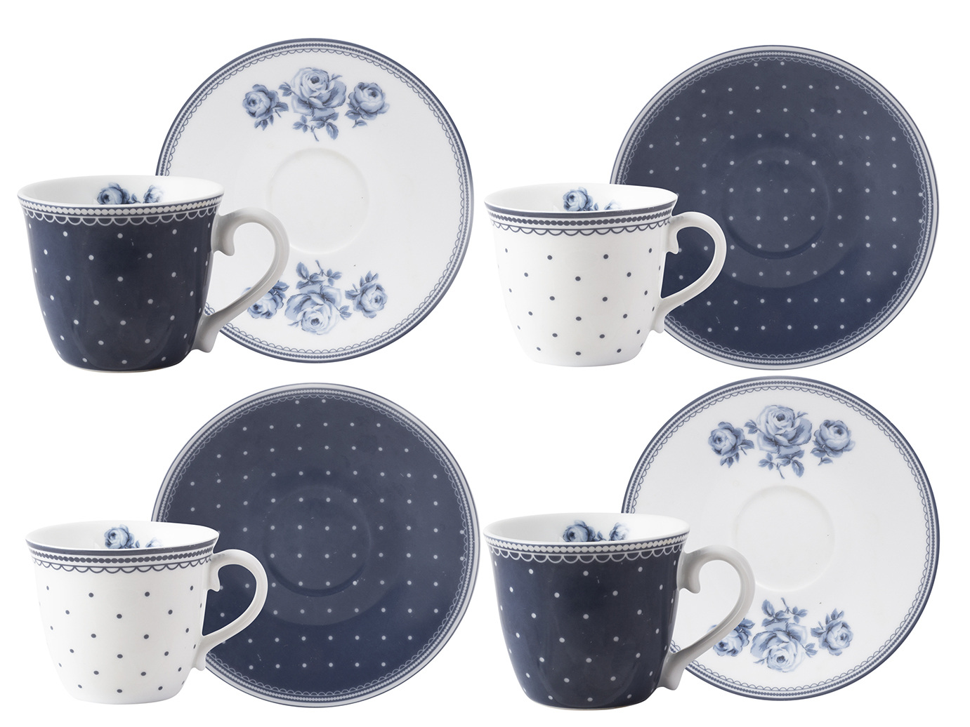 Katie Alice Vintage Indigo Set Of 4 Espresso Cups And Saucers