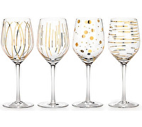 Mikasa Cheers Metallic Gold Set Of 4 14Oz Wine Glasses