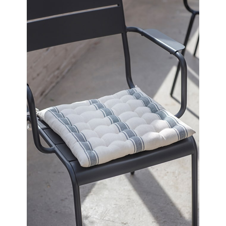 Cotton Seat Pad in Blue, Grey, Cream, Coral or Green Stripe | Garden Trading